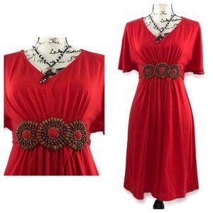 ICE Boho Slash Sleeve Cotton Stretch Belted Dress